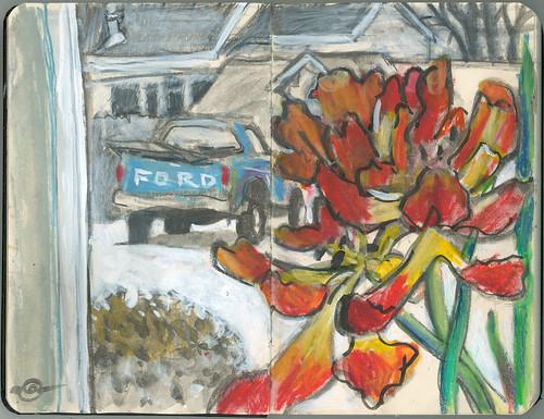 winter window interior insideoutside urbanlandscape cedarfallsiowa calligraphypen whiteacrylicink pocketsizemoleskine neocoloriiwatersolublewaxpastels watersolublegraphitestick marciamilnerbrage