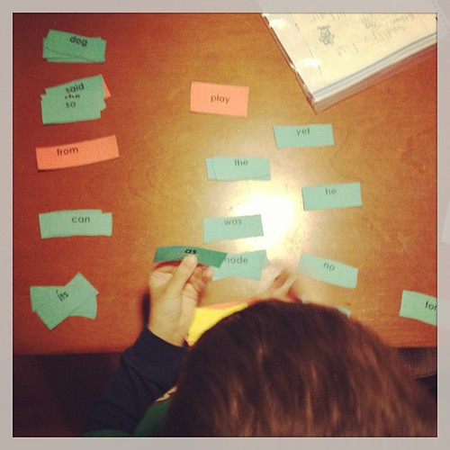 Sorting his sight words
