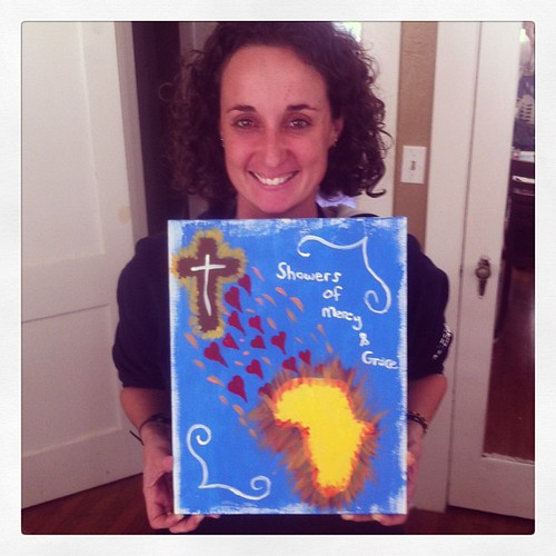 Bronwyn's first AND fabulous painting, which, by the way, is being auctioned off to raise funds for Patrick's mission trip to Swaziland. #africa #painting #mercy #grace #cross #lifeatwewillgo