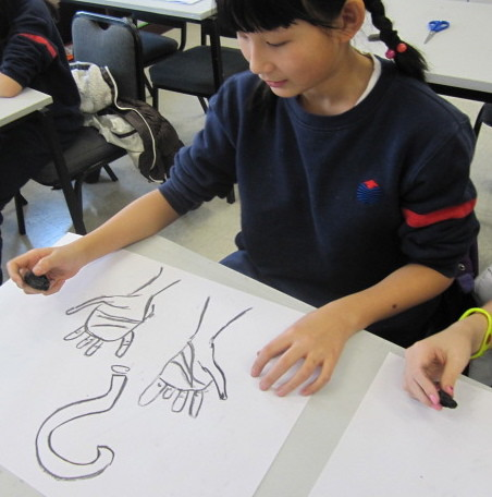 Drawing with wood charcoal, Yew Chung International School of Beijing 6
