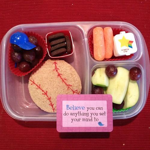 Baseball themed lunch today (practice today) #easylunchboxes #lunchboxlove #simplysweetscakestudio
