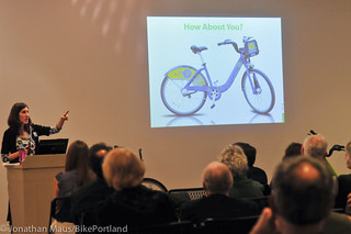 Alta Bicycle Share principal Mia Birk explains Portland's future system to possible sponsors