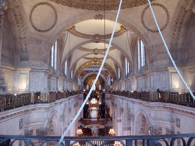 Looking down on the nave