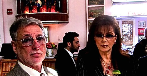 Jackie Collins (right) with manager Barry Krost