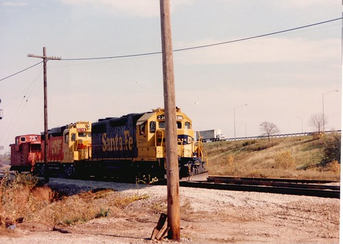 Westbound Atchison, Topeka & Santa Fe Railroad caboose hop approaching Nerska Junction.  Chicago Illinois.  November 1989. by Eddie from Chicago