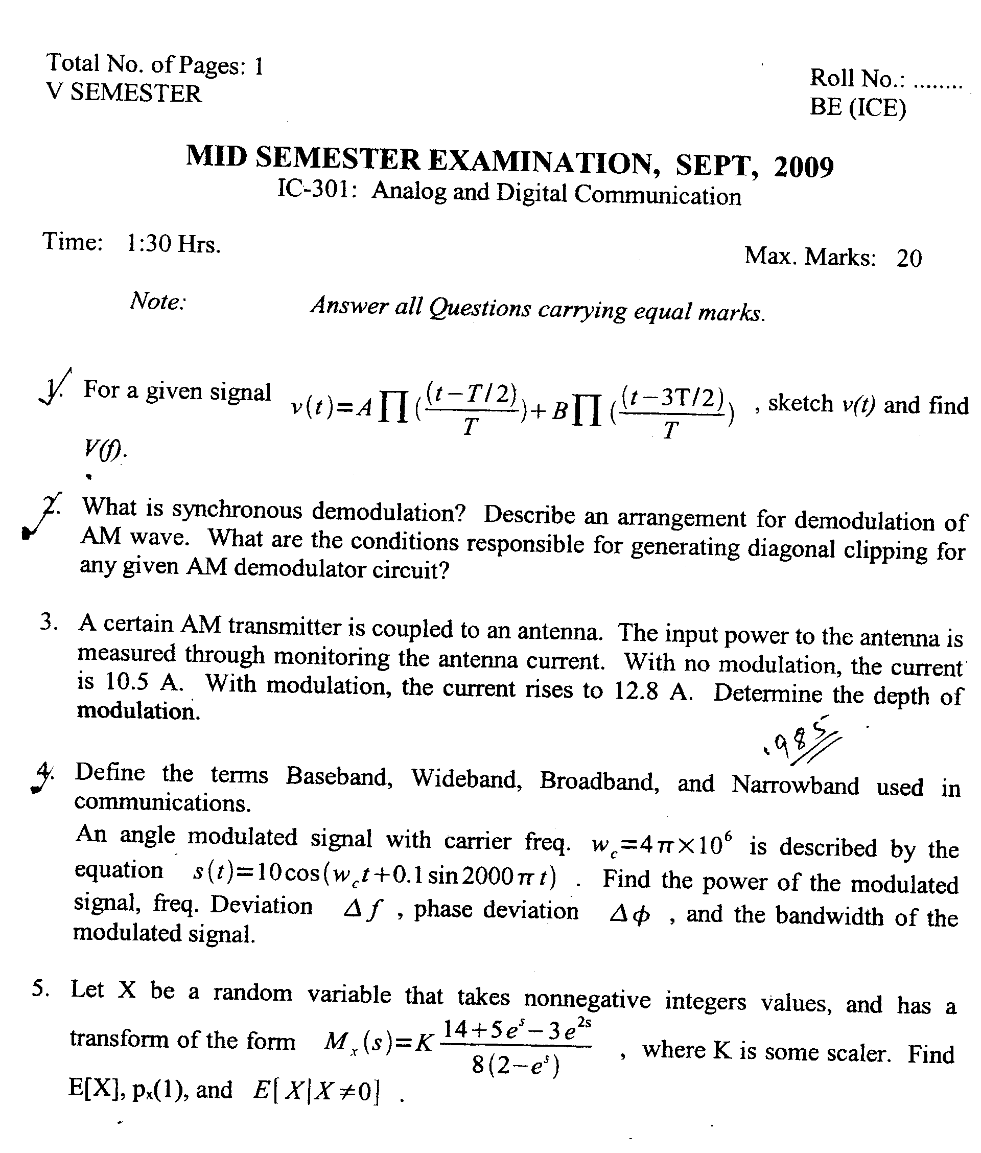 NSIT: Question Papers 2009 – 5 Semester - Mid Sem - IC-301