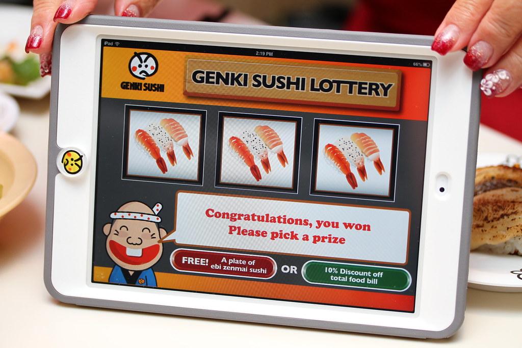 Genki Sushi's iPad jackpot game