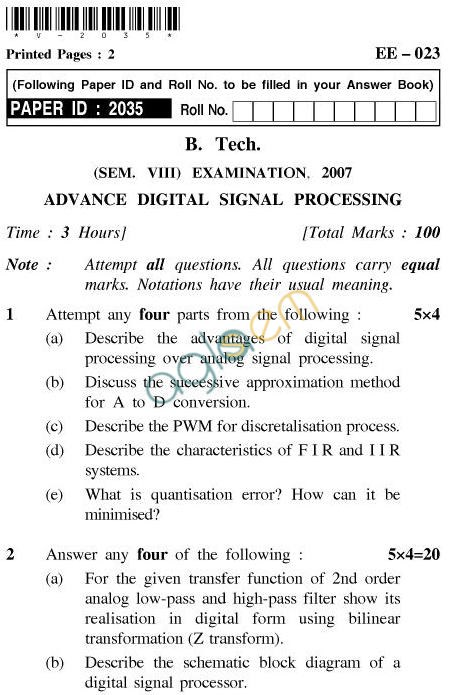 UPTU B.Tech Question Papers - EE-023-Advance Digital Signal Processing