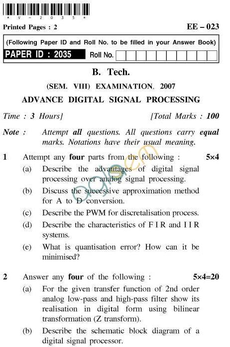 UPTU B.Tech Question Papers - EE-023-Advance Digital Signal Processing