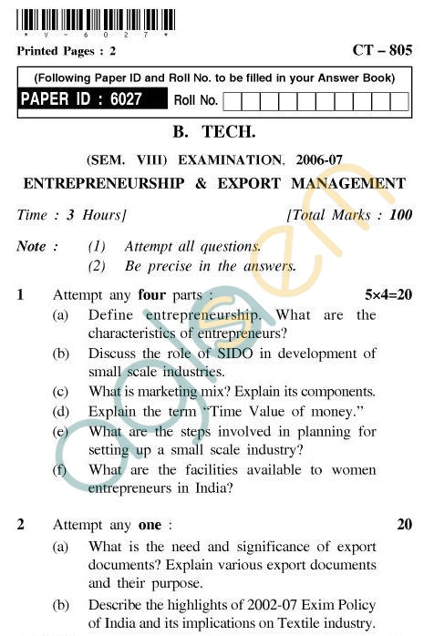 UPTU B.Tech Question Papers - CT805 - Entrepreneurship and Export Management