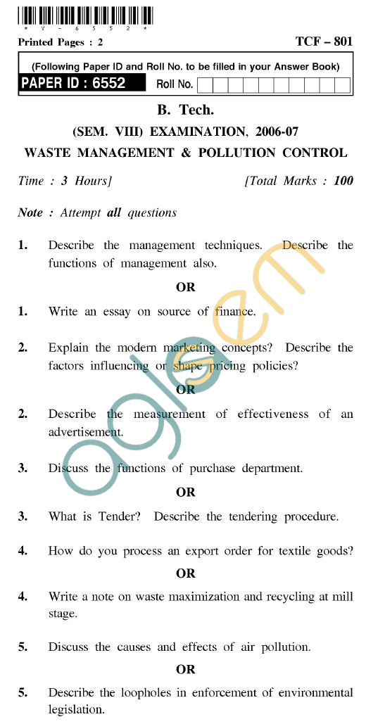 UPTU B.Tech Question Papers - TCF-801 - Waste Management & Pollution Control