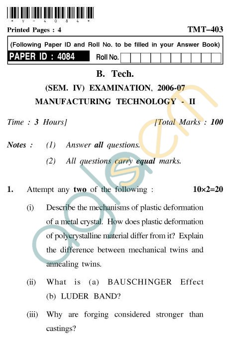 UPTU B.Tech Question Papers - TMT-403 - Manufacturing Technology-II