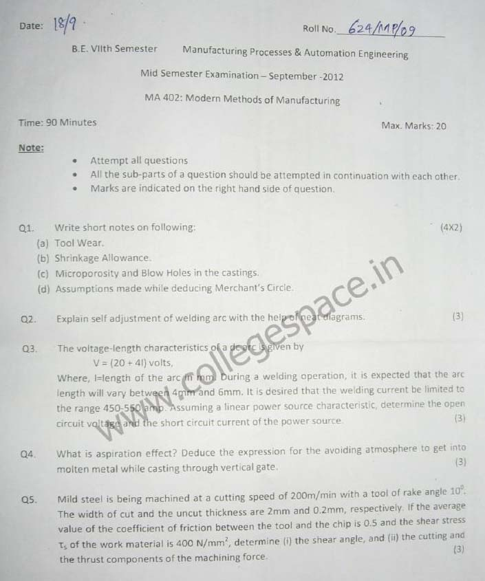 NSIT Question Papers 2012 – 7 Semester - Mid Sem - MA-402