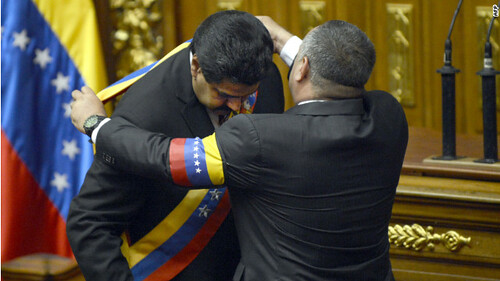 Nicolas Maduro being sworn in as Interim President of the Bolivarian Republic of Venezuela on March 8, 2013. He took the oath of office at the national assembly in Caracas. by Pan-African News Wire File Photos
