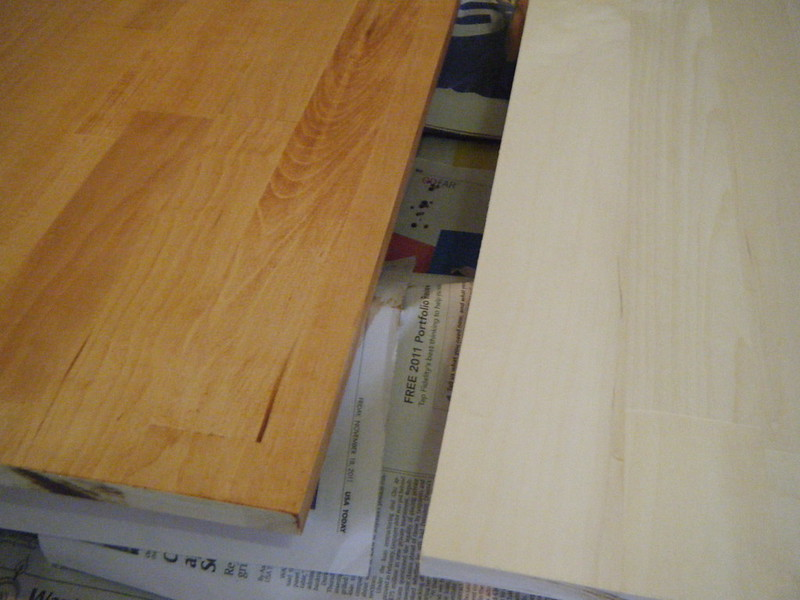 Varnished and raw wood for shelves