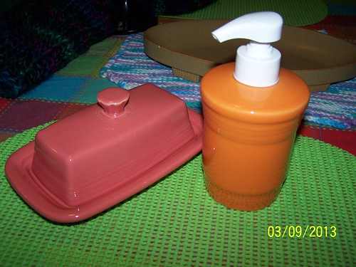 Fiestaware Butter Dish and Soap Dispenser