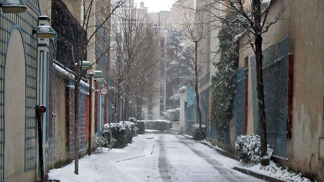 Small lane covered in snow
