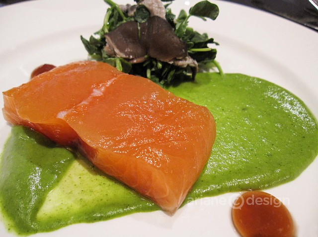 Entrée: Smoked salmon, watercress pomme purée, pickled mushroom salad, Noble maple matured sherry bourbon oak fluid gel