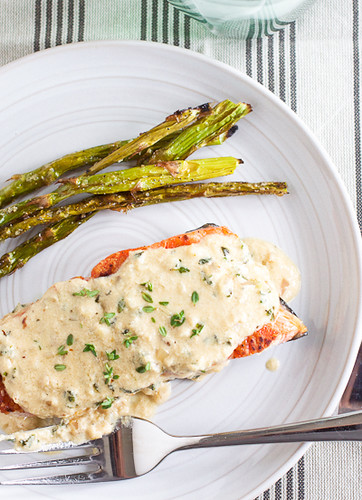 Pan-Crisped Salmon with Light Garlicky Dijon Cream Sauce