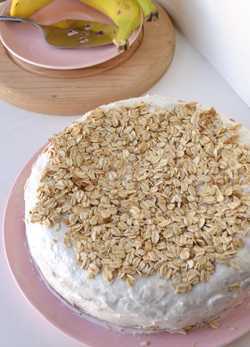 moist banana cake with toasted oatmeal