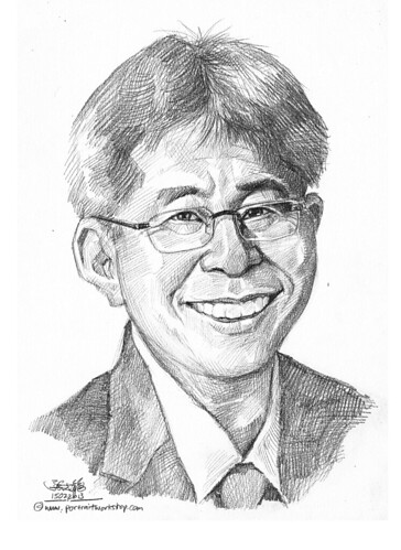 Pencil portrait for Chinese Swimming Club president - 1 (revised)