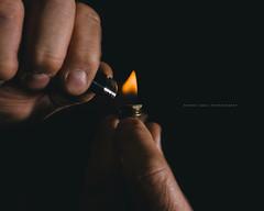 Lighting up a brass pipe