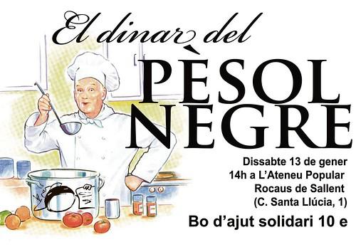 cartell del dinar pro-pèsol negre de diumenge 13 de gener a les 14 h a l'Ateneu Popular Rocaus de Sallent 13 gener 2013