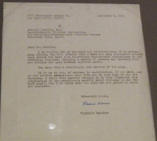 Kubrick Переписка с Набоковым по поводу экранизации Лолиты письмо Набокова см