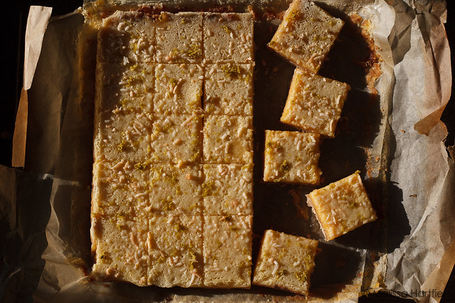 Coconut Lime Squares in direct sunlight