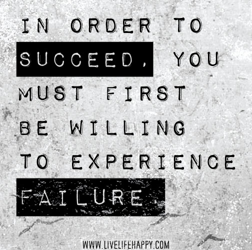 In order to succeed, you must first be willing to experience failure.