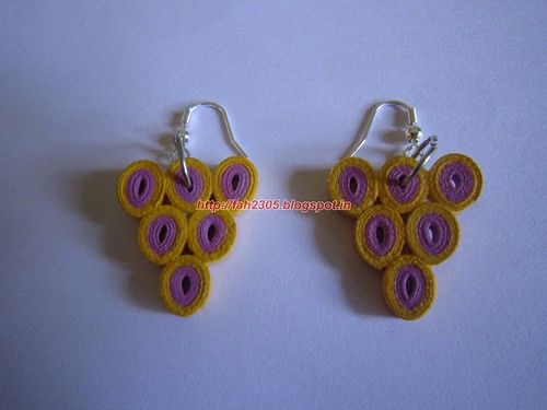 Handmade Jewelry - Paper Quilled Earrings (Triangle -Yellow & Pink) (1) by fah2305