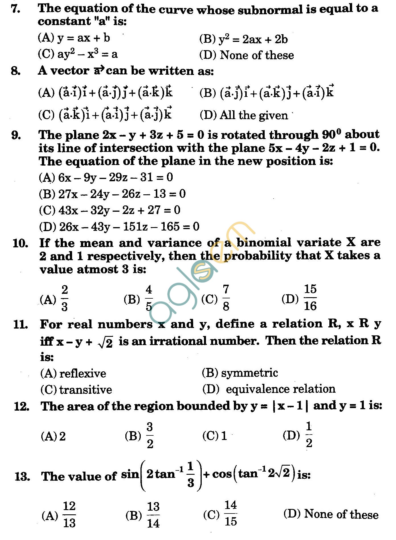 NSTSE 2009 Class XII PCM Question Paper with Answers - Mathematics