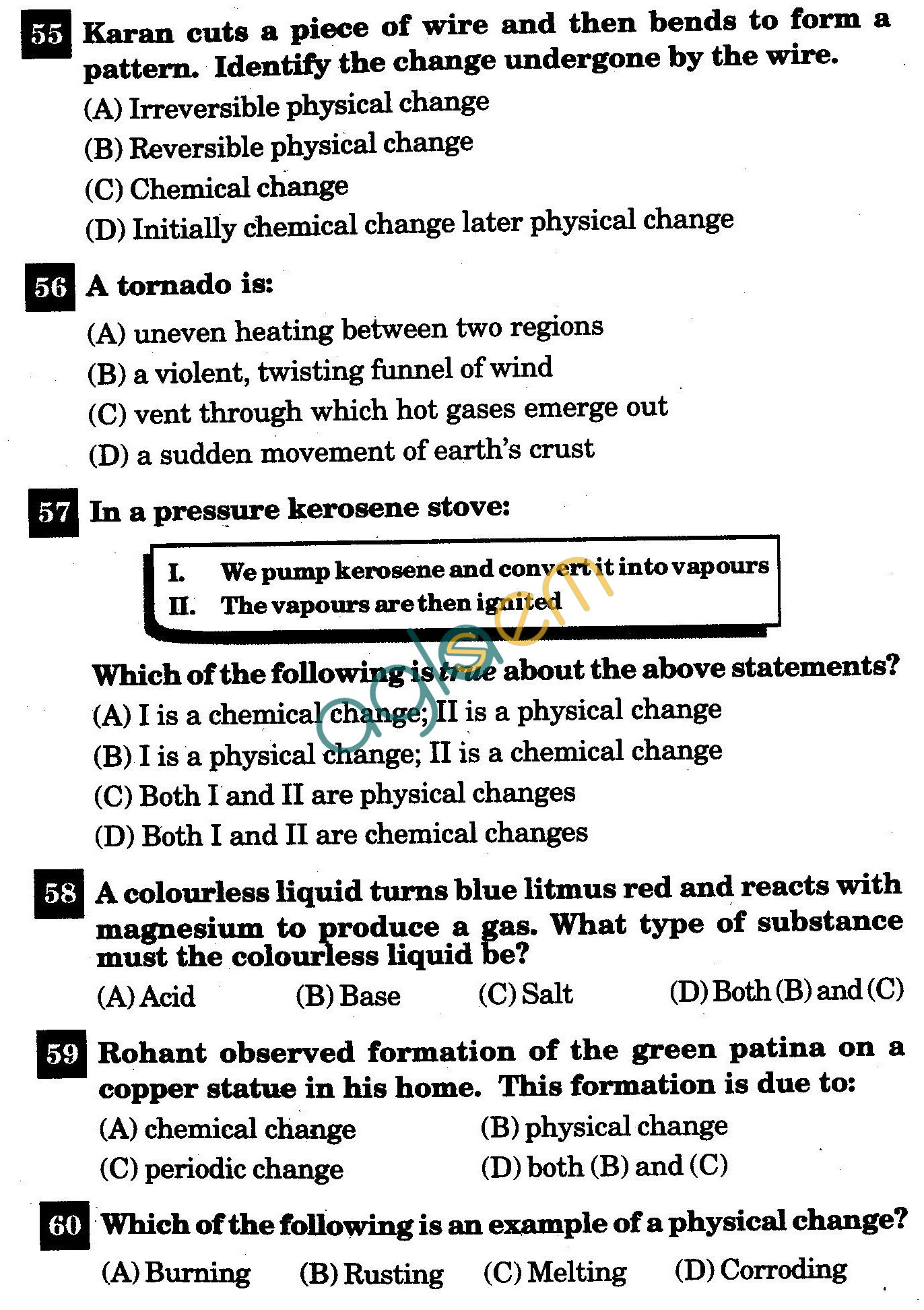 NSTSE 2011 Class VII Question Paper with Answers - Chemistry