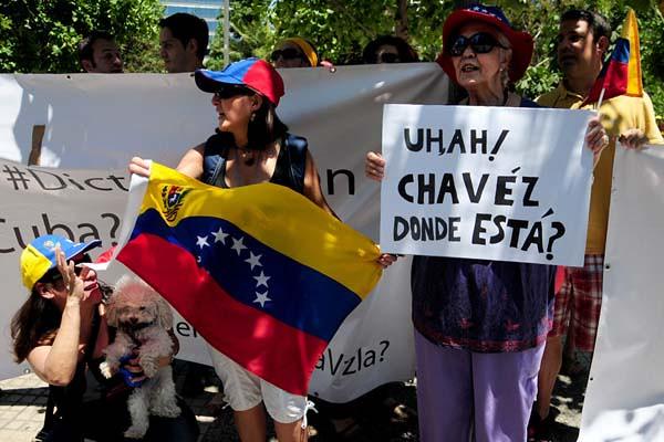 Protesta de venezolanos radicados en Chile.