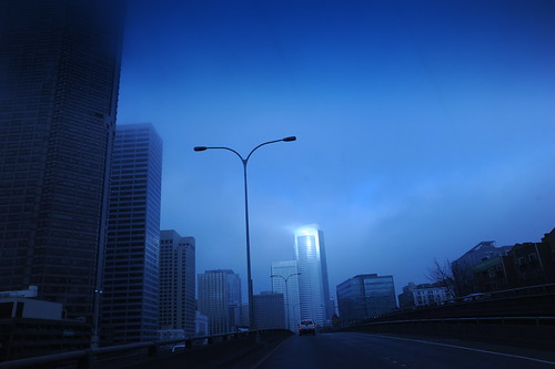 Foggy morning, little gleam, downtown, skyscrapers, Hi 5, Seattle, Washington, USA by Wonderlane