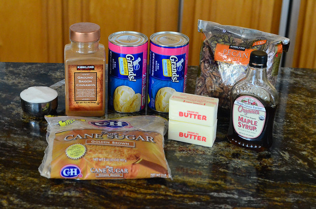 All the ingredients required to make easy maple pecan monkey bread.