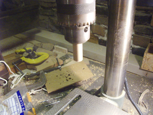 One of the pegs chucked-up in the Drill Press...
