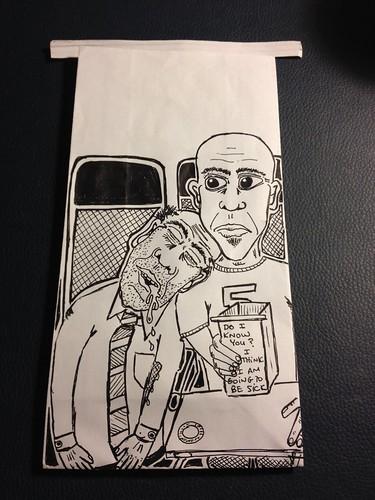 "Barf bag art Southwest Airlines by Mike ""Dakinewavamon"" Kline"