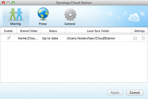 Cloud Station Client - Settings (Sharing)