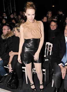 Kylie Minogue Leather Shorts Celebrity Style Women's Fashion