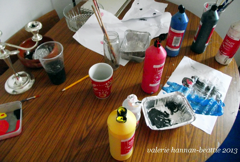 DINING TABLE PAINTS MESSY HOUSE