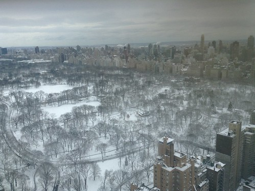 Snowy park from high up by scriptingnews