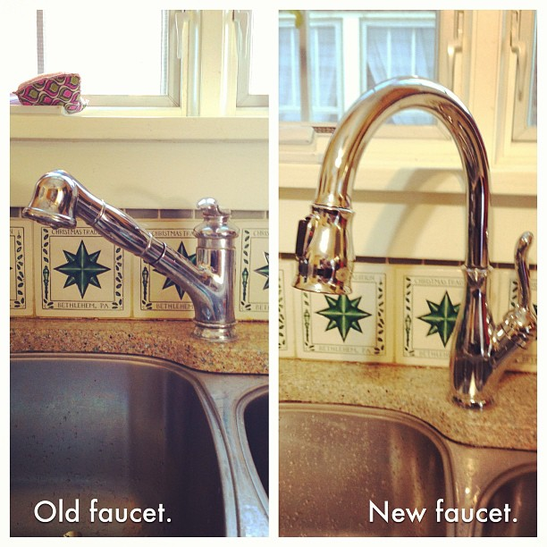 We installed a new kitchen faucet today!  The old one was leaking. It only took 75 minutes.  There was only a little blood.