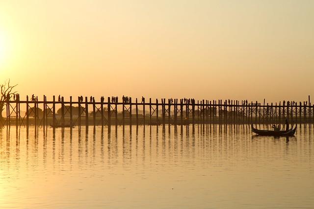 Puente de madera de U Bein. Lago Taungthaman. Amarapura. Birmania