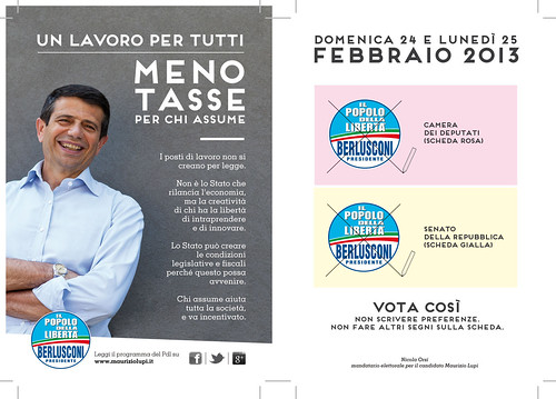 Cartolina di Maurizio Lupi su lavoro e impresa per le elezioni 2013