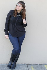 Prabal Gurung for Taget outfit: Prabal Gurung for Target shirt with lace accent and leather collar, skinny jeans, quilted black leather Corso Como boots