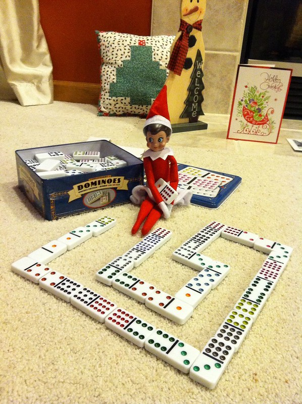 Dominoes Elf on the Shelf. Click for more ideas! #elfontheshelf