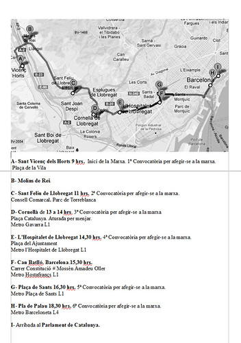 Ruta marxa contra l´atur Baix Llobregat-Parlament 28 de febrer