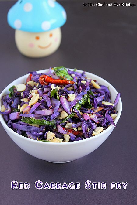 Red Cabbage Stir fry with Peanuts | Red Cabbage Recipes