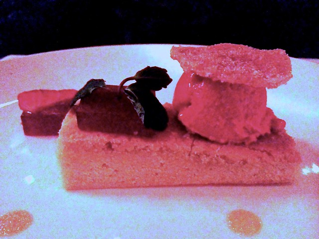 Lemon olive oil shortcake with raspberry sorbet, strawberry pate de fruits and puffed vanilla bean rice pudding